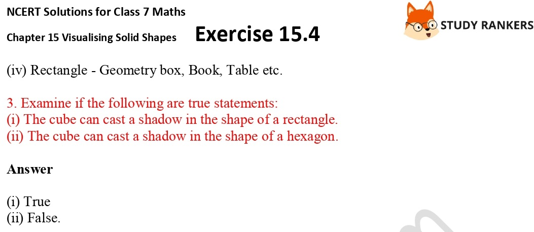 NCERT Solutions for Class 7 Maths Chapter 15 Visualising Solid Shapes Exercise 15.4 Part 2