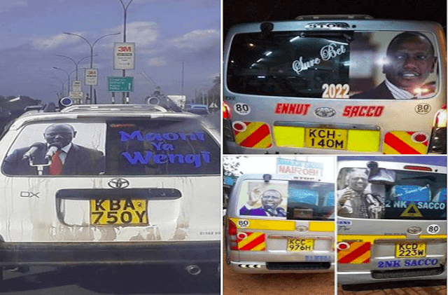 Cars and Matatu Sacco branding deputy president William Ruto and now starts a Ruto Transport Movement in Central Kenya. PHOTO | Njoroge