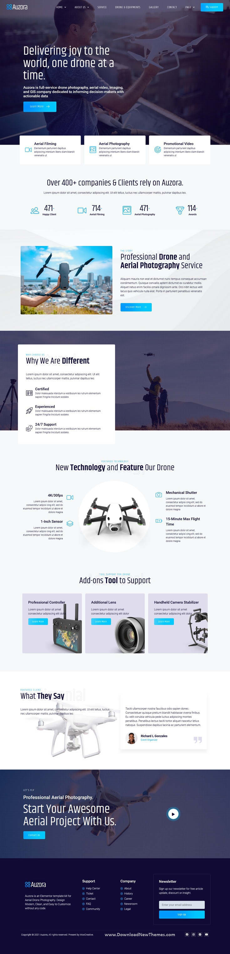 Drone Aerial Photography Elementor Template Kit