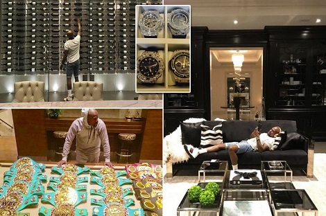 Mayweather Reveals Extravagant Vino, Flashy Watches & Stunning Belt Collection