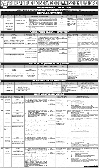 PPSC New Jobs advertisement no.16/19-apply online
