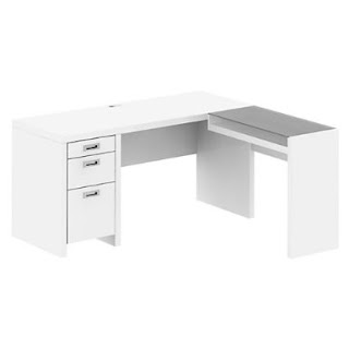 Plumeria White Corner Desk With Drawers With Glass Return
