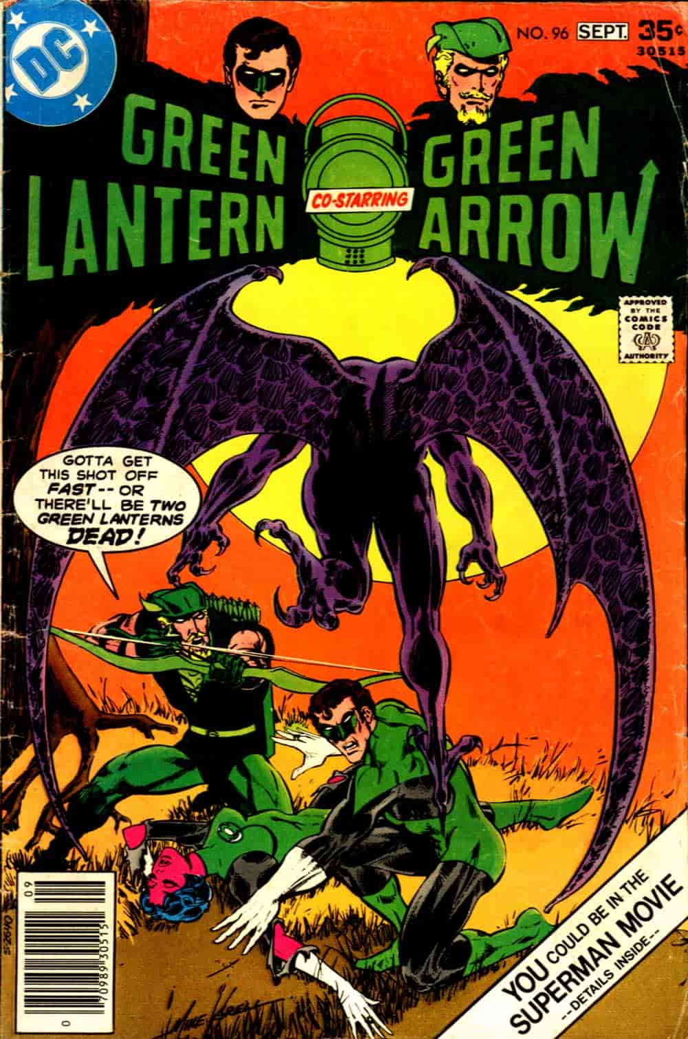 Green Lantern/Green Arrow #96, portada de Mike Grell y Tatjana Wood