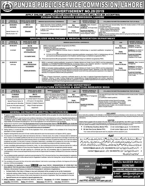 Punjab Public Service Commission PPSC Jobs September 2019 advertisement No.28/2019.