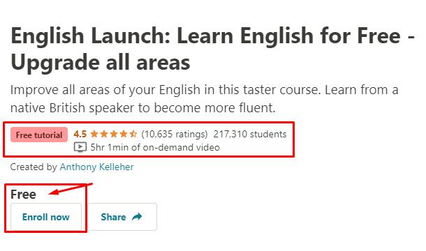 كورس انجليزي مجاني