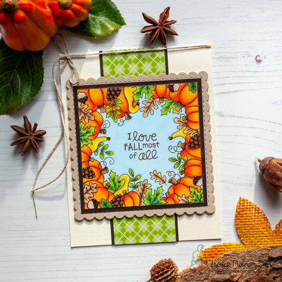 Fall Frame Card by Zsofia Molnar | Fall Fringe Stamp Set and Frames Squared Die Set by Newton's Nook Designs #newtonsnook #handmade
