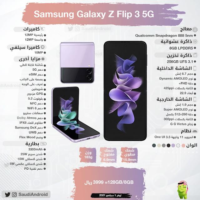 انفوجرافيك : مواصفات & مميزات هاتف جالكسي زد فليب 3 Galaxy Z Flip 3