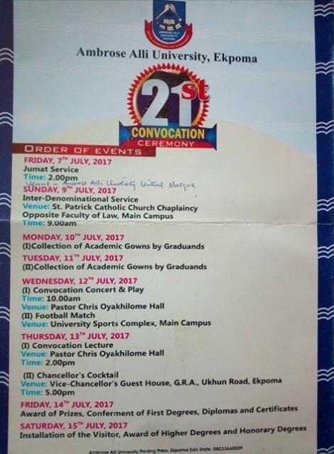 Ambrose Alli University, Ekpoma 21st Convocation Ceremony Schedule