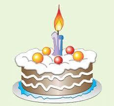 Pastel de aniversario en caricatura, con una vela encendida