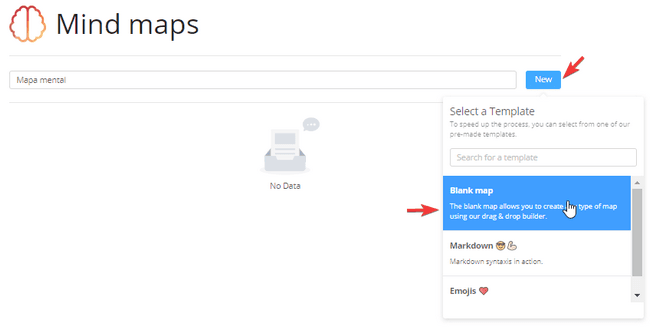 Interfaz extension Mind maps aplicación para crear mapas mentales sin registrarse