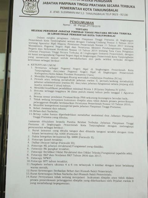 Salinan Pengumuman Seleksi Pengisian Jabatan Pimpinan Tinggi Pratama Secara Terbuka di lingkungan Pemko Tanjungbalai.