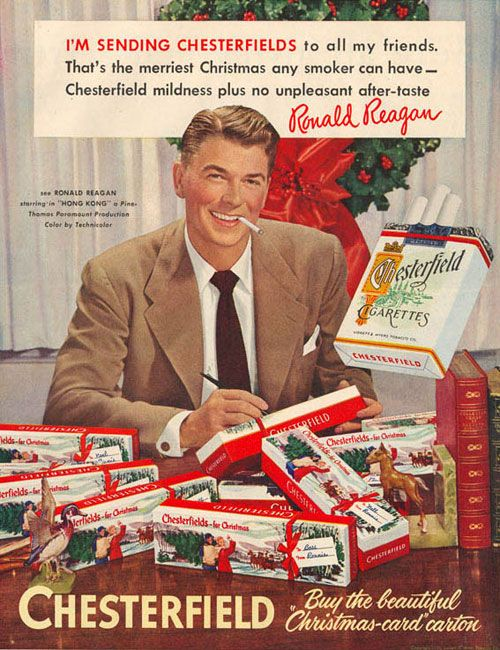 Propaganda dos Cigarros Chesterfiel com o ex-presidente Ronald Reagan para o Natal de 1952