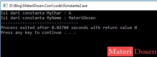 Contoh Konstanta dalam C++