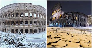 Η Ρώμη ντύθηκε στα λευκά και οι σπάνιες εικόνες από το Κολοσσαίο μαγεύουν