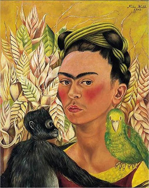 Фрида Кало - Автопортрет с обезьянкой и попугаем. 1942