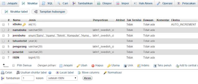 struktur tabel buku - sahretech