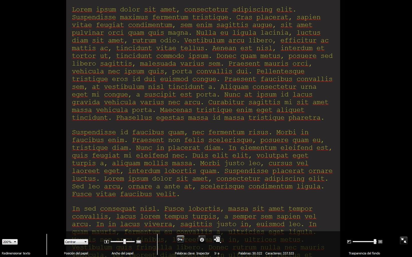 editor pantalla completa