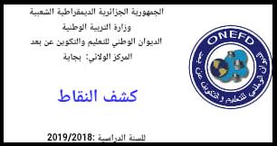 استخراج كشف شهادة اثبات المستوى- الدراسة بالمراسلة 2019 onefd.edu.dz resultat