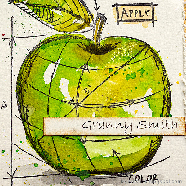 Layers of ink - Watercolor Apples Art Journal Tutorial by Anna-Karin Evaldsson. Granny Smith apple.