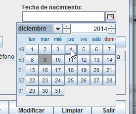 Seleccionando una fecha en el componente JDateChooser