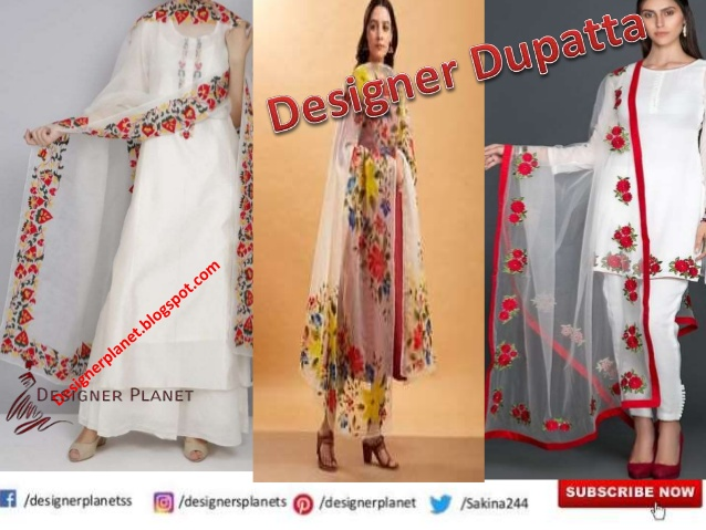 Indian Pakistani Wedding Designer Stole Dupatta, Festival Embroidered Dupatta | Chiffon Dupatta Des