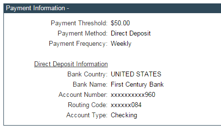 clickbank payment information, direct deposit information