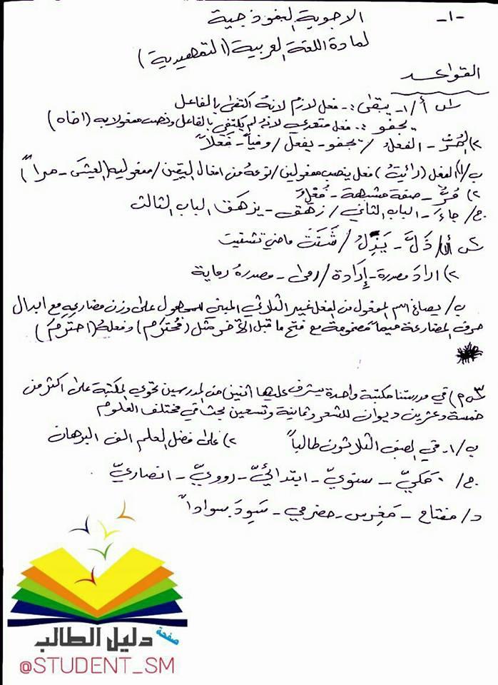 مهم اجوبة امتحان اللغة العربية التمهيدي للثالث المتوسط 2017 18882007_187920211734104_8254909082231277587_n