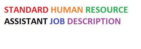 Standard Human Resource Assistant Job Description