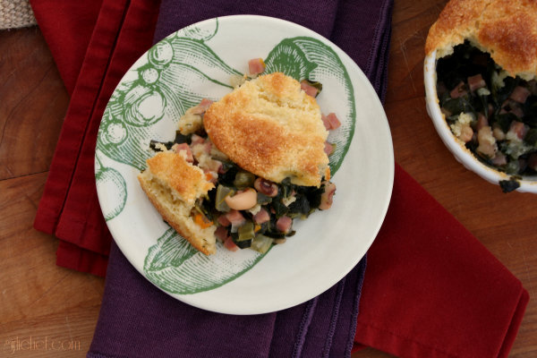 Ham & Greens Pot Pie w/ Cornbread Crust