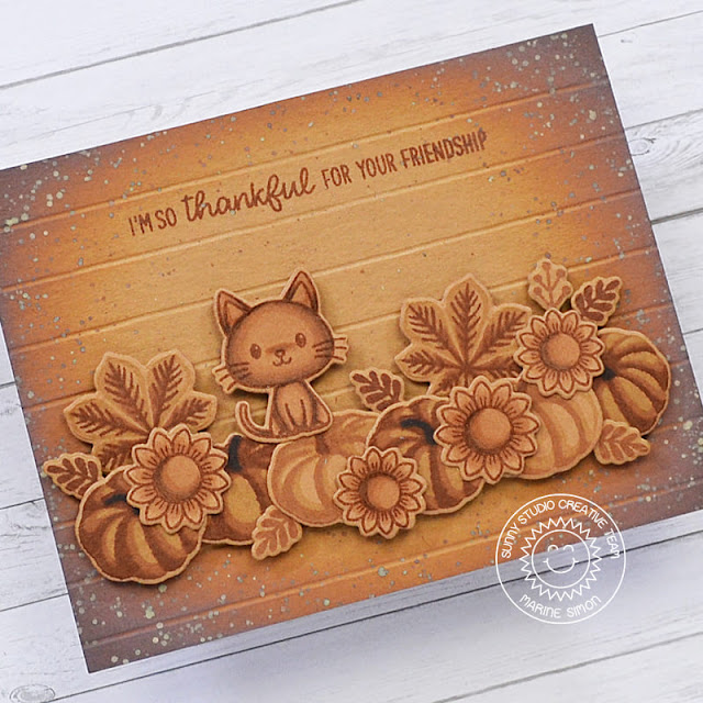 Sunny Studio Stamps: Crisp Autumn Words Of Gratitude Bewitching Happy Harvest Autumn Themed Card by Marine Simon