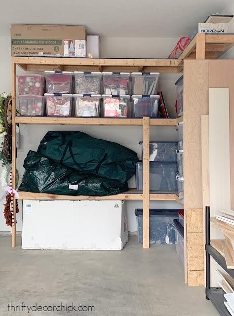 organized holiday decor in garage
