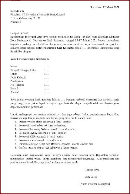 Contoh Application Letter Untuk Sales Promotion Girl Kosmetik (Fresh Graduate) Berdasarkan Informasi Dari Job Fair