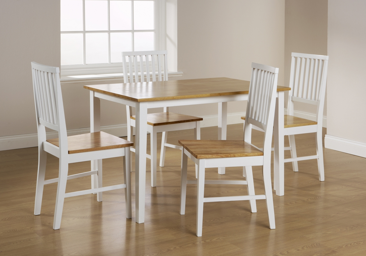 White painted dining table and chairs white painted for White and wood dining table and chairs
