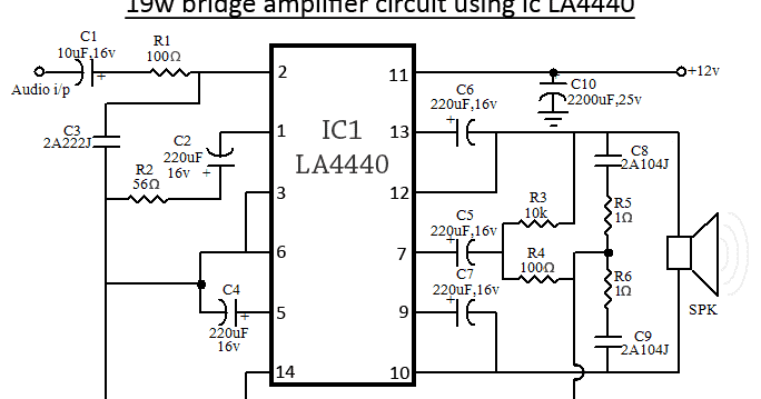 Super Circuit Diagram: LA4440 Bridge Amplifier Circuit Diagram