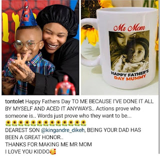Tonto Dikeh celebrating herself on father's day
