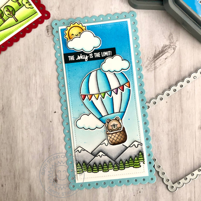 Sunny Studio Stamps: Country Scenes Balloon Rides Slimline Dies Everyday Cards by Tammy Stark