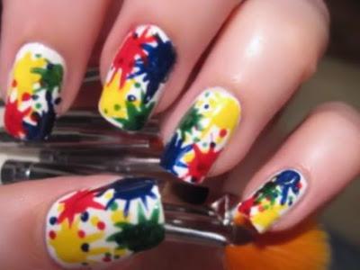 Kuku Motif Splatter Paint Nail Art
