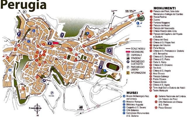 Mapa da cidade de Perugia