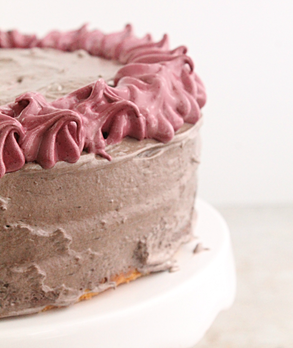 Vanilla Buttermilk Layer Cake with Fluffy Cocoa Frosting
