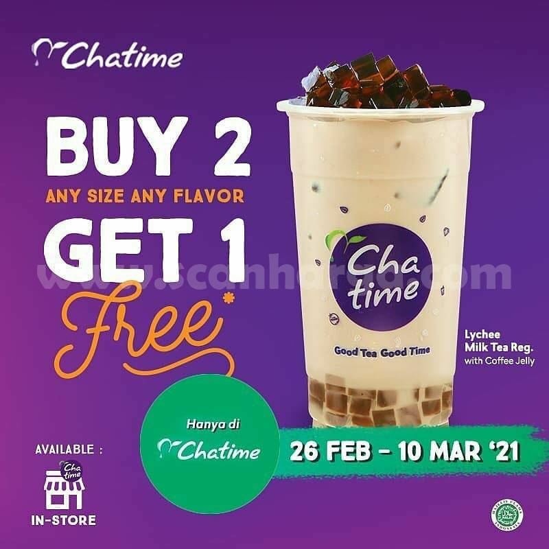 CHATIME Promo Beli 2 Minuman Apa Saja! GRATIS Lychee Milk Tea Coffee jelly
