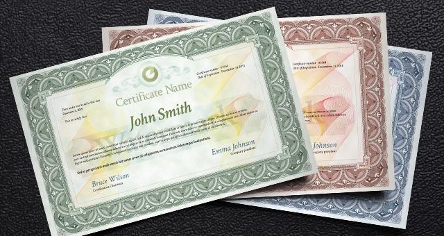 Plantillas de certificados, diplomas o títulos de propiedad en PSD