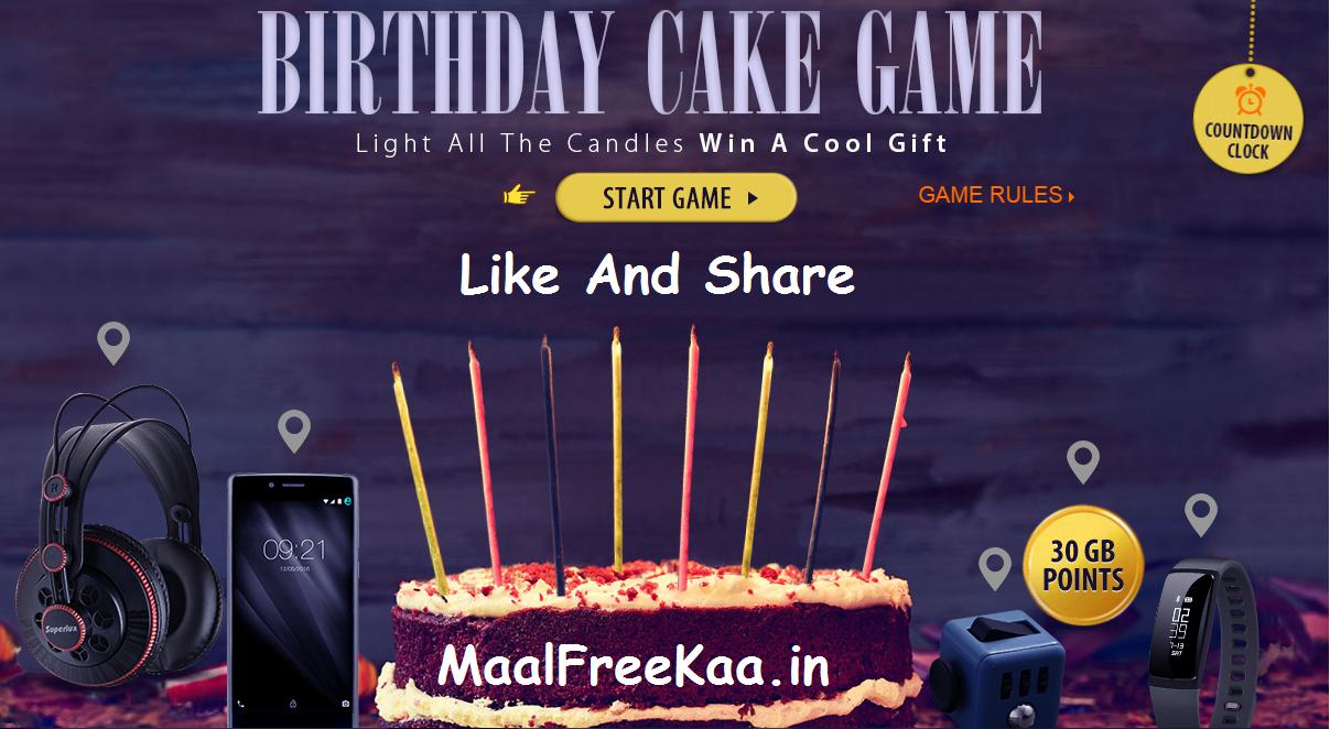 Birthday Online Game Contest Win Freebie