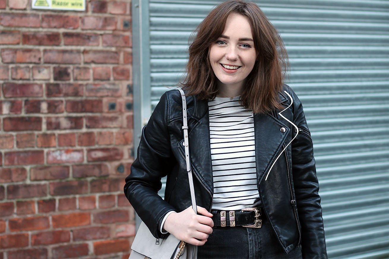 Liverpool blogger in topshop leather jacket, striped top, chloe faye bag