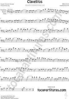 Trombón, Tuba Elicón y Bombardino Partitura de Clavelitos Sheet Music for Trombone, Tube, Euphonium Music Scores (tuba en 8ª baja)