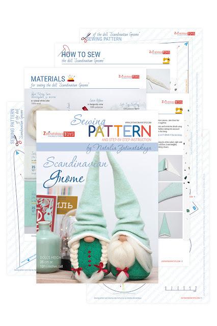 Christmas gnome patterns and sewing tutorial by Zatinatskaya Natalia
