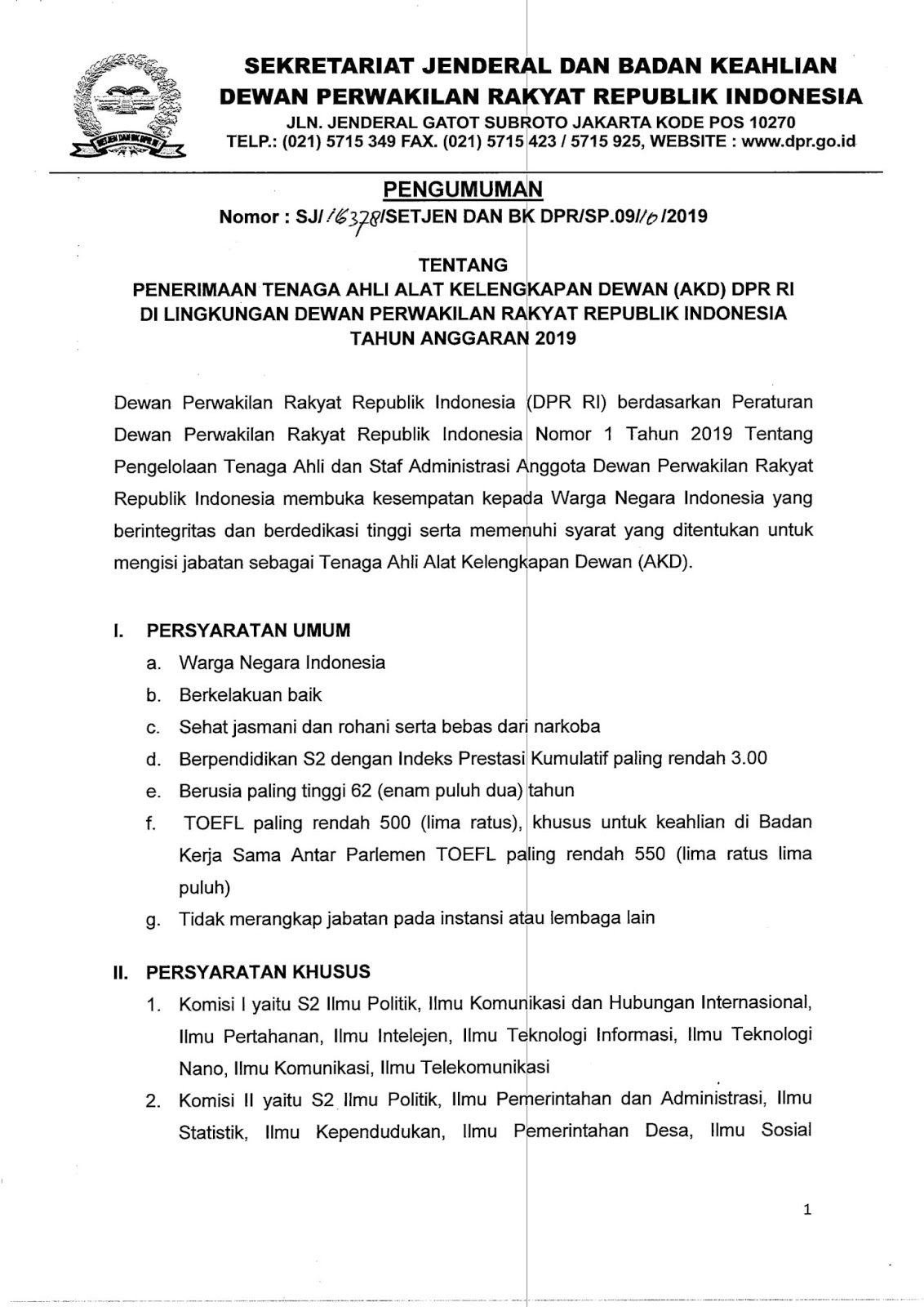 Rekrutmen Tenaga Ahli Alat Kelengkapan Dewan DPR Republik Indonesia