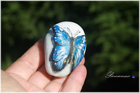 motyle świata, Butterflies of the world, painting on the rock, rock art, stone art. Morpho cipris