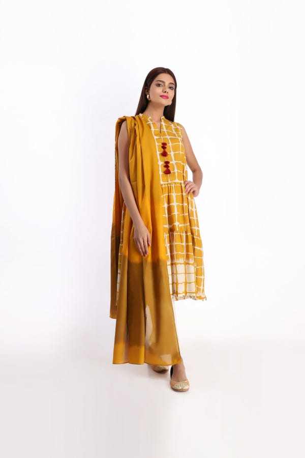Khaadi 2 PC unstitched suit summer collection yellow color