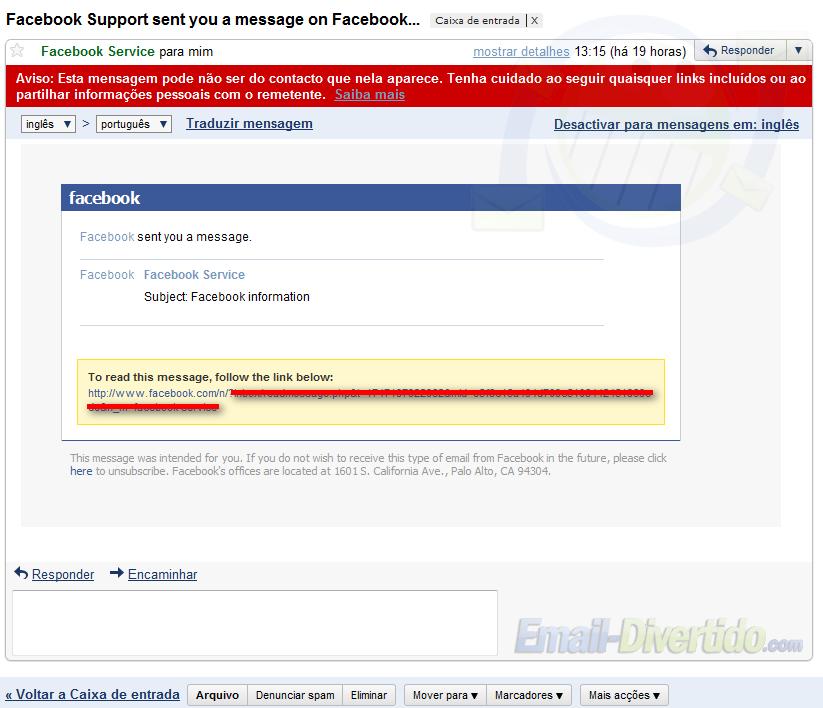 facebook scam fraude atenção