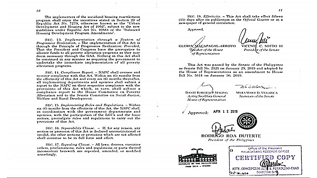 """Under the law, """"the government shall establish a system of progressive realization or implementation to provide the requirements, conditions, and opportunities for the full enjoyment or realization of the following rights of the poor, which are essential requirements towards poverty alleviation.""""      Ads  As a vow to the Filipino people to fight poverty and lessen the number of those living below the poverty threshold set by the National Economic Development Authority or NEDA, Republic Act 11291 or 'Magna Carta for the Poor' was signed by President Rodrigo Duterte.   Under the law, concerned government agencies should ensure that Filipinos' rights are protected and that they are getting the adequate government services they need.  The law mandates the Department of Social Welfare and Development (DSWD) and Department of Agriculture must work hand in hand to minimize or mitigate hunger.  The Labor Department must ensure that there will be equal opportunities for jobseekers. National and public works projects must fill the 30% of their manpower from the poor sector.  The Health Department is mandated to provide quality and universal healthcare services.  The government should continue socialized housing programs and relocating those who are living in danger zones.  Access to free tertiary education and expand programs for technical and vocational courses.  The beneficiaries will be determined by NEDA and DSWD and the National Anti-Poverty Commission (NAPC). Ads      Sponsored Links     It also states that there will be a non-diminution of the rights of the poor or that """"all other rights of the poor provided under existing laws shall remain in full force and effect.""""  Within six months from the effectivity of this act, the National Anti-Poverty Commission (NAPC) shall, in coordination with the government departments and agencies, with the participation of the local government units and the basic sectors, promulgate rules and regulations to carry out the provisions of """